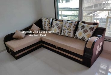 Sofa cum bed L shaped 8×6 with storage inside with pillows